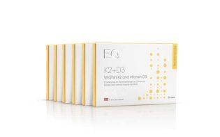 EQ vitamine K2+D3 (zes verpakkingen, €25 per verpakking, bespaar €60)